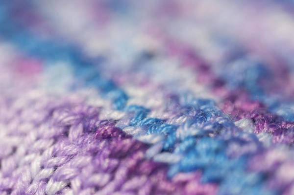 Photograph - Knitting Hobbies Series. Purple Pastel Knit Abstract 2 by Jenny Rainbow