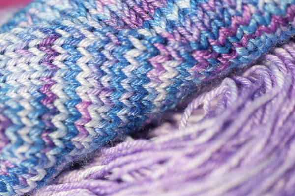 Photograph - Knitting Hobbies Series. Purple Pastel Yarn And Knit 1 by Jenny Rainbow