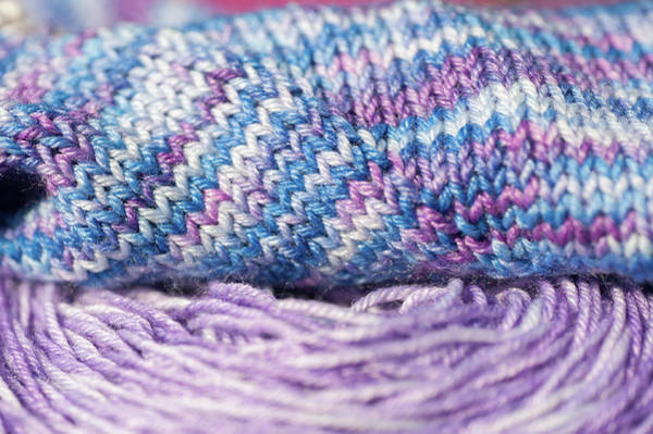 Photograph - Knitting Hobbies Series. Purple  Pastel Yarn And Knit by Jenny Rainbow