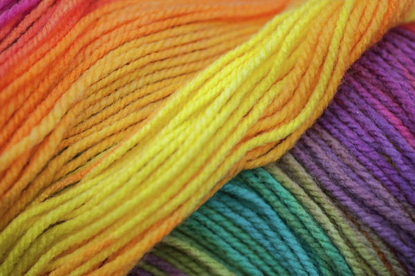 Photograph - Knitting Hobbies Series. Rainbow Yarn Abstract 4 by Jenny Rainbow