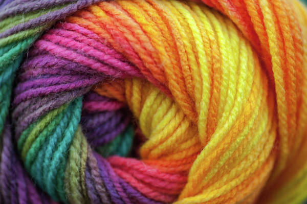 Photograph - Knitting Hobbies Series. Rainbow Yarn Abstract 5 by Jenny Rainbow