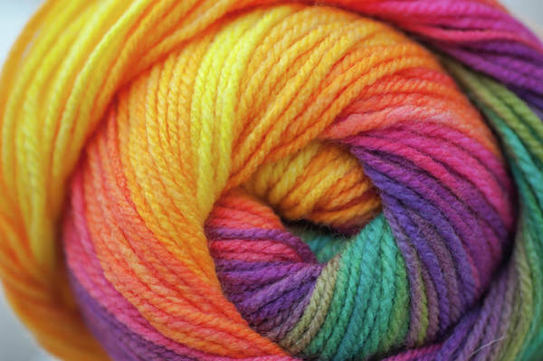 Photograph - Knitting Hobbies Series. Rainbow Yarn Abstract 6 by Jenny Rainbow