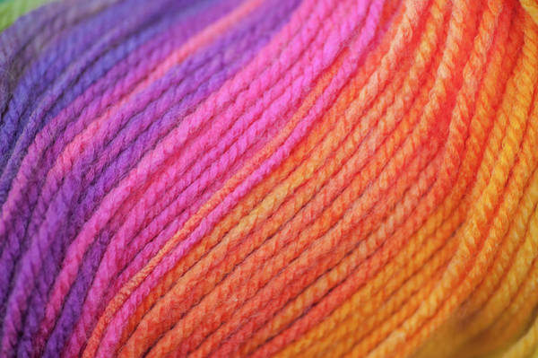 Photograph - Knitting Hobbies Series. Rainbow Yarn Abstract 7 by Jenny Rainbow