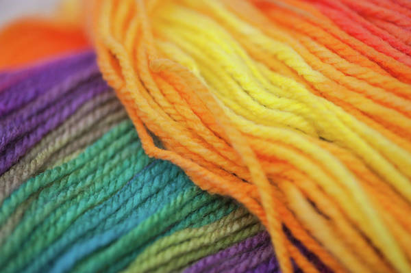 Photograph - Knitting Hobbies Series. Rainbow Yarn Abstract 8 by Jenny Rainbow