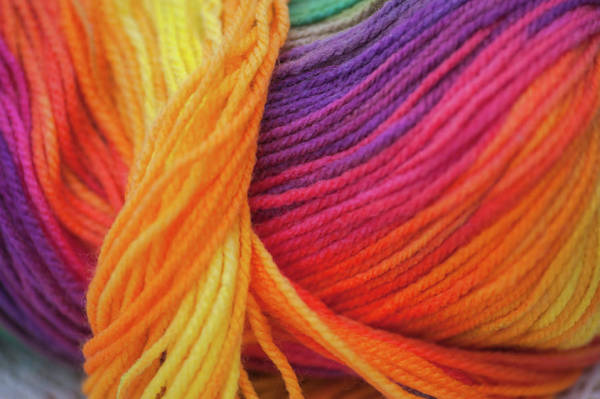Photograph - Knitting Hobbies Series. Rainbow Yarn Abstract 9 by Jenny Rainbow