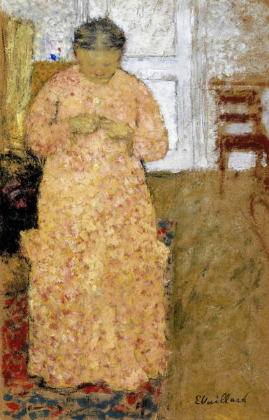 Wall Art - Painting - Knitting Woman In Pink Dress - Digital Remastered Edition by Edouard Vuillard