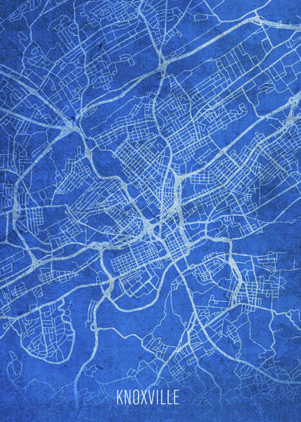 Wall Art - Mixed Media - Knoxville Tennessee City Street Map Blueprints by Design Turnpike