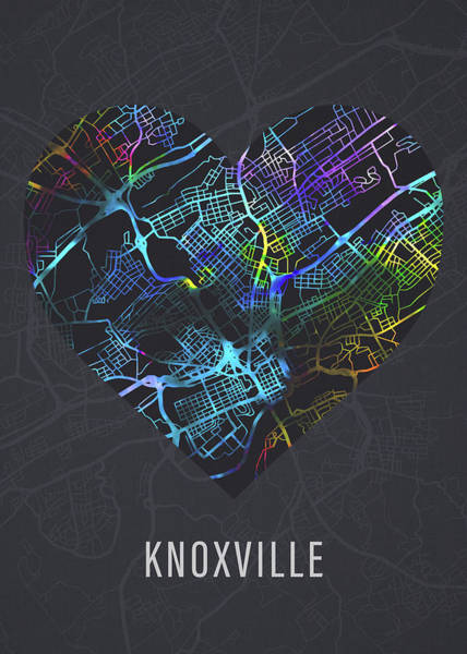 Wall Art - Mixed Media - Knoxville Tennessee Heart Street Map Love Dark Mode by Design Turnpike