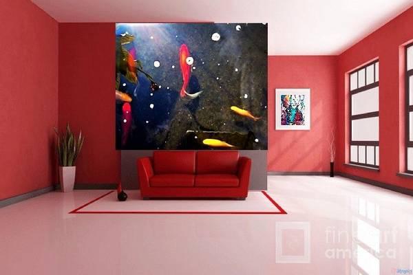 Digital Art - Koa Fish And Abstract Interior Decor by Debra Lynch