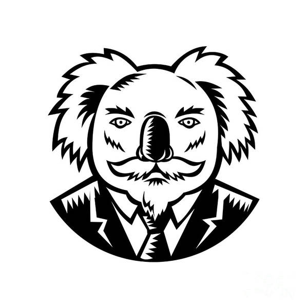 Wall Art - Digital Art - Koala With Moustache Woodcut Black And White by Aloysius Patrimonio
