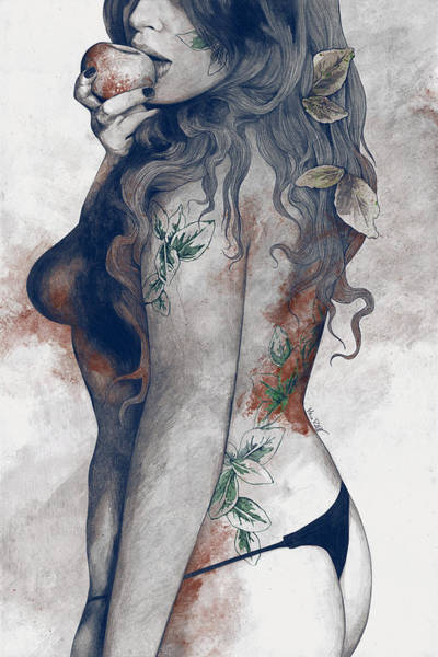 Erotic Drawing - Koi No Yokan - Blue Rust - Erotic Drawing, Sexy Tattoo Girl In Thong Biting An Apple by Marco Paludet