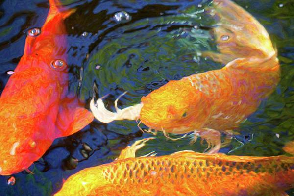 Digital Art - Koi Pond Fish - Making Room - By Omaste Witkowski by Omaste Witkowski