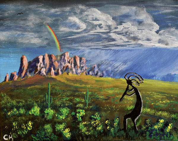 Wall Art - Painting - Kokopelli And The Superstition Mountains by Chance Kafka