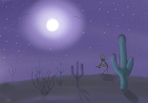 Digital Art - Kokopelli In The Moonlight by Chance Kafka