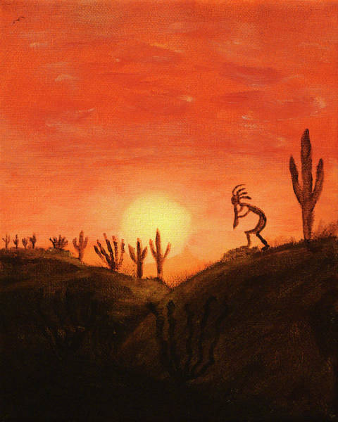Art Print featuring the painting Kokopelli's Sunset Song by Chance Kafka