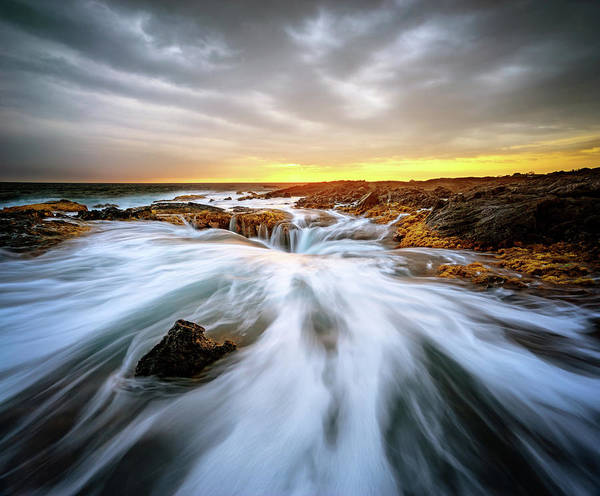 Photograph - Kona Blowhole At Sunset by Christopher Johnson