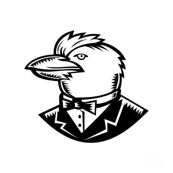 Wall Art - Digital Art - Kookaburra Wearing Tuxedo Woodcut Black And White by Aloysius Patrimonio