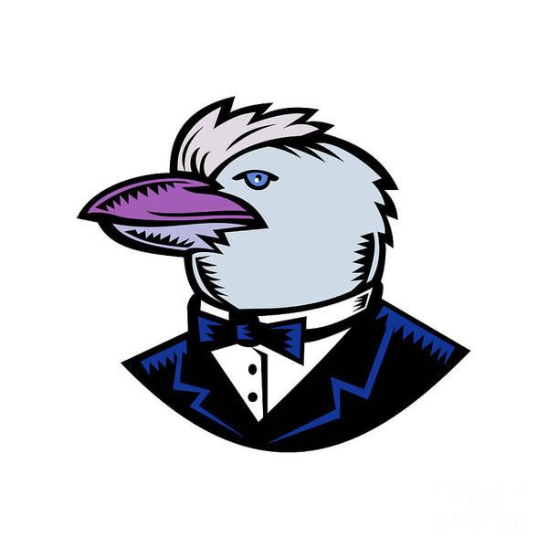 Wall Art - Digital Art - Kookaburra Wearing Tuxedo Woodcut Color by Aloysius Patrimonio