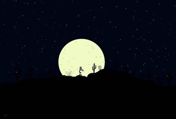 Digital Art - Kokopelli Moonrise by Chance Kafka