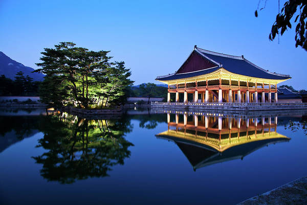 Standing Photograph - Korean Royal Palace In Night by Light Of Peace