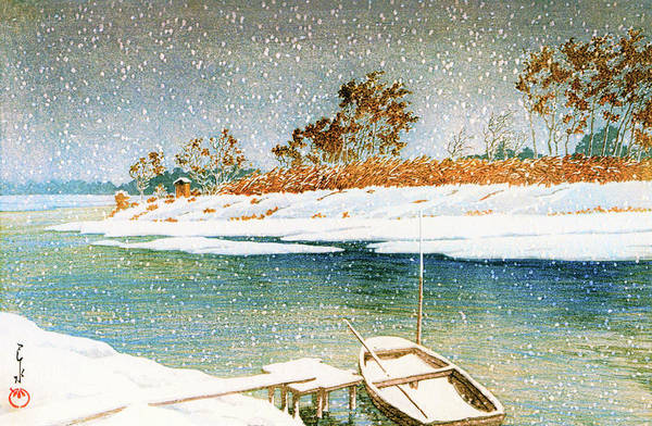 Wall Art - Painting - Koshigaya In Snow - Digital Remastered Edition by Kawase Hasui