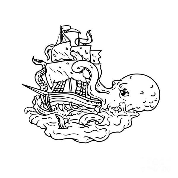 Wall Art - Digital Art - Kraken Attacking Sailing Ship Doodle Art by Aloysius Patrimonio