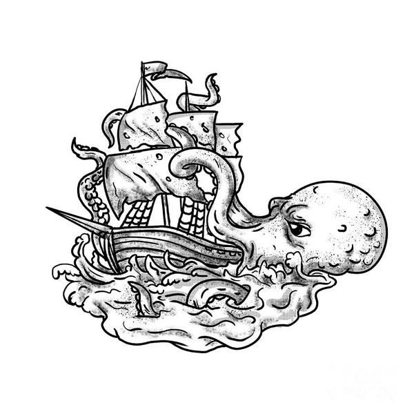 Wall Art - Digital Art - Kraken Attacking Ship Tattoo Grayscale by Aloysius Patrimonio