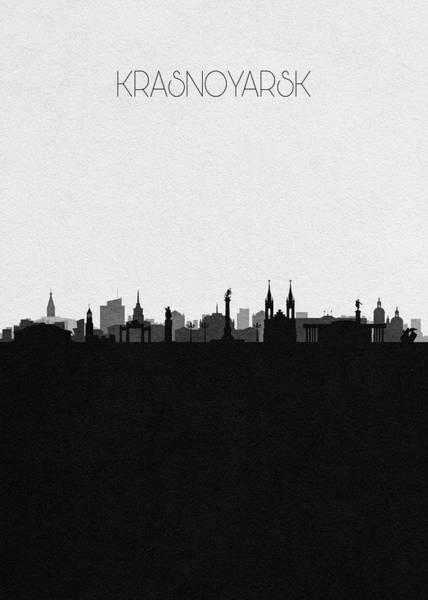 Souvenir Digital Art - Krasnoyarsk Cityscape Art by Inspirowl Design