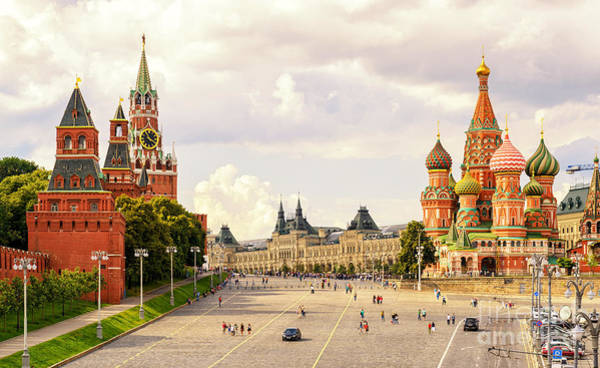 Wall Art - Photograph - Kremlin And St Basils Cathedral On The by Viacheslav Lopatin