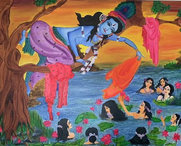 Wall Art - Painting - Krishna Leela by Anakha Nair
