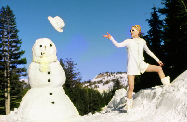 Dolce Wall Art - Photograph - Krister Mcmenamy With Snowman by Arthur Elgort