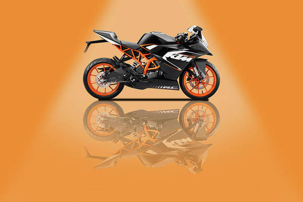 Wall Art - Mixed Media - Ktm Duke 125 Orange Spotlight by Smart Aviation