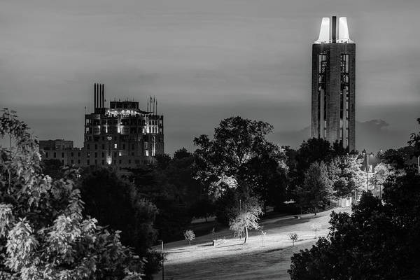 Photograph - Ku Campanile And The Oread Hotel - Lawrence Kansas Monochrome by Gregory Ballos
