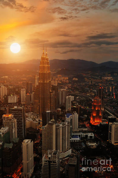 Office Buildings Wall Art - Photograph - Kuala Lumpur Sunset Scene With Petronas by Vitaly Titov