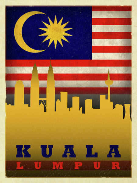 Wall Art - Mixed Media - Kuala Lumpur World City Flag Skyline by Design Turnpike
