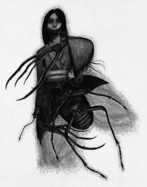 Drawing - Kuchisake-onna The Slit Mouthed Woman Ghost - Artwork by Ryan Nieves