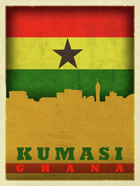 Wall Art - Mixed Media - Kumasi Ghana World City Flag Skyline by Design Turnpike