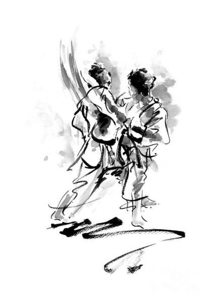 Wall Art - Painting - Kumite Karate Kyokushin Full Contact Matrial Arts by Mariusz Szmerdt
