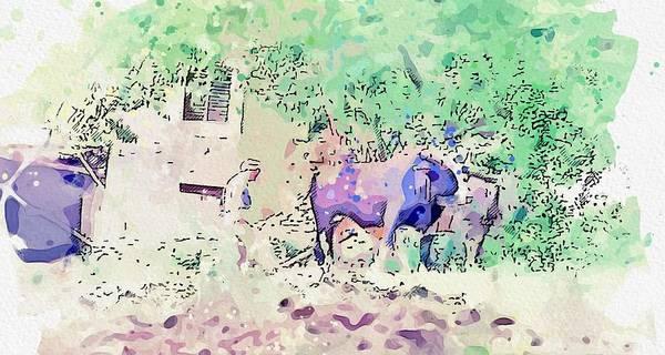 Painting - Kurdish Farmer Watercolor By Ahmet Asar by Ahmet Asar