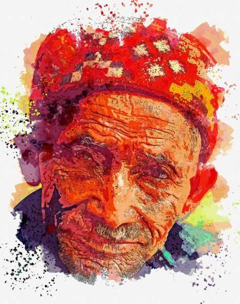 Painting - Kurdish Man -  Watercolor By Ahmet Asar by Ahmet Asar