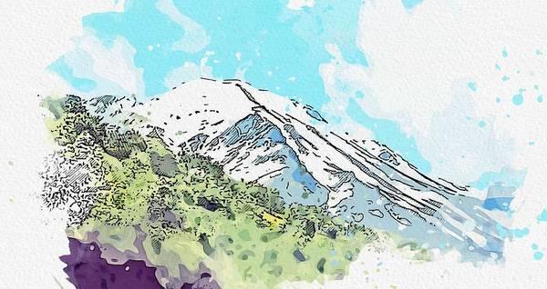 Painting - Kurdish Mountain Of Cudi Watercolor By Ahmet Asar by Ahmet Asar