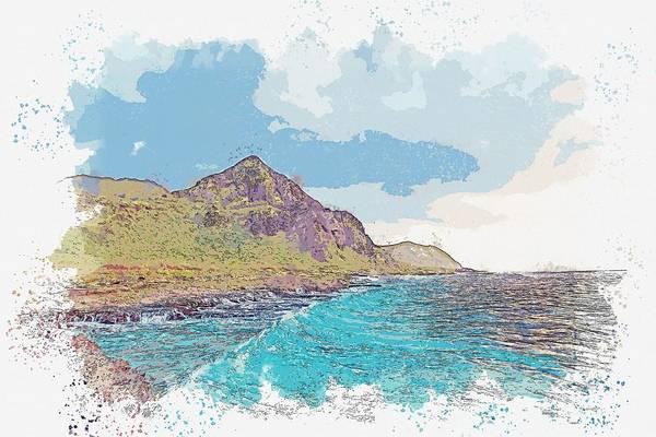 Painting - Kurdish Van Coast Watercolor By Ahmet Asar by Ahmet Asar