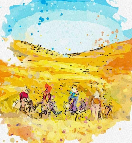 Painting - Kurdish Woman Traveling Watercolor By Ahmet Asar by Ahmet Asar