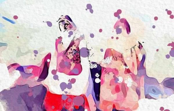 Painting - Kurdish Women From Khorasan Watercolor By Ahmet Asar by Ahmet Asar