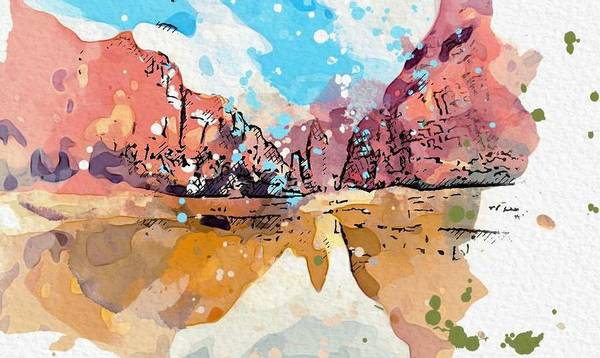Painting - Kurdistan Landscape 2  C2019,  C2019, Watercolor By Adam Asar by Adam Asar