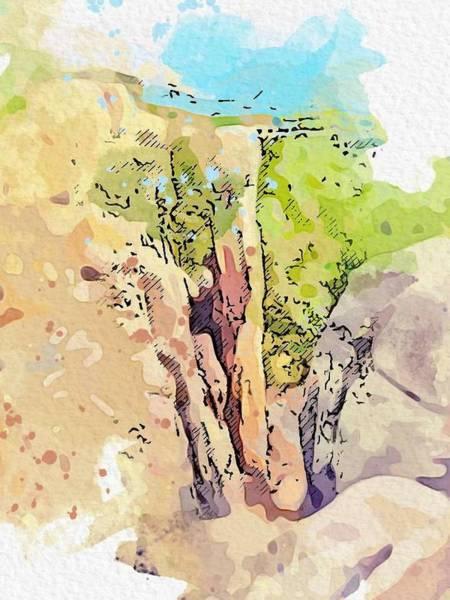 Painting - Kurdistan Landscape  C2019,  C2019, Watercolor By Adam Asar by Adam Asar