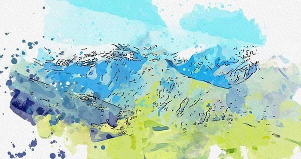 Painting - Kurdistan Mountains - Landscape 2 Watercolor By Ahmet Asar by Ahmet Asar