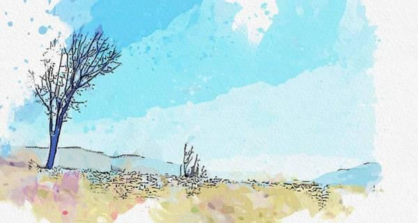 Painting - Kurdistan Mountains - Landscape 3 Watercolor By Ahmet Asar by Ahmet Asar