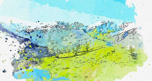 Painting - Kurdistan Mountains - Landscape Watercolor By Ahmet Asar by Ahmet Asar