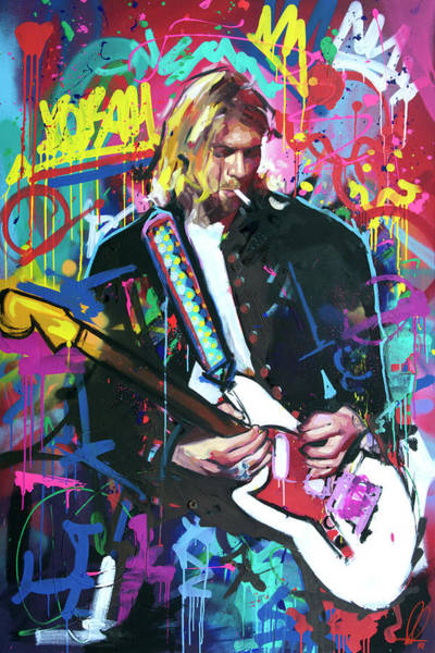 Foo Fighters Wall Art - Painting - Kurt Cobain Live by Richard Day